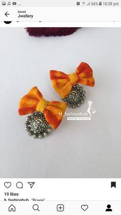 Mirror Jewellery, Diy Fabric Jewellery, Fancy Jewellery, Fabric Earrings, Thread Jewellery, Funky Jewelry, Textile Jewelry, Diy Earrings, Earrings Handmade