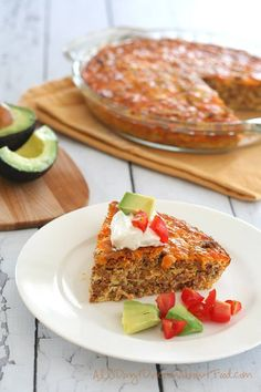 """Easy Taco Pie - S!   """"This low carb meat and egg pie is ridiculously easy to make and incredibly delicious – a perfect weeknight dinner. Use your favourite taco seasoning and adjust the heat to your liking. Kid-friendly!"""" - Carolyn  www.TrimHealthyMama.com"""