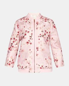 18878efe58a5 Soft Blossom jacquard bomber jacket - Light Pink