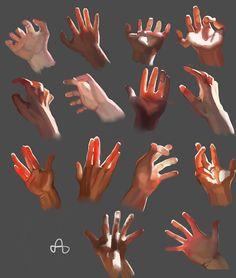 Light Study on hands by Alaa Adel, via Behance