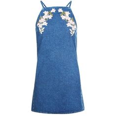 Topshop Moto Embroidered Denim Pinafore Dress ($56) ❤ liked on Polyvore featuring dresses, embroidered dress, pinny dress, pinafore dress, denim dress and embroidery dresses