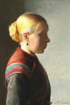 Michael Ancher 1887 Ung pige Skagen Museum. Pigen på maleriet var Maren Brems og hun var hushjælp hos Michael og Anna Ancher. 47x35cm.