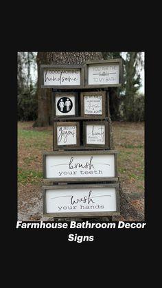 Country Farmhouse Decor, Farmhouse Design, Rustic Design, Farmhouse Style, Diy Rustic Decor, Wooden Decor, Rustic House Decor, Bathroom Decor Signs, Bathroom Ideas