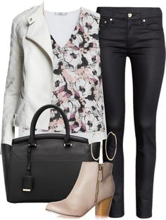 Alison Dilaurentis inspired outfit with a white leather jacket by liarsstyle featuring a long sleeve jacket