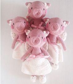 pigs Crochet Pig, Crochet Animals, Crochet Toys, Crochet Lace, Crochet Ideas, Crochet Patterns, Pig Pen, Piglets, Amigurumi Patterns