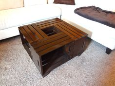Shabby chic hand-made crate coffee table, rustic - coffee table, crate table I THINK I CAN DO THIS