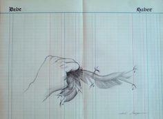 Isabel Somoza / Dibujo a lápiz sobre papel de contabilidad