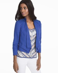 We're into blue this season, so we made sure to craft our latest jacket in the prettiest shade of blue. Feminine and fitted, it's sharp with clean lines, D-ring shoulder detail and a layered hem. Even better: we crafted it in a linen blend with open styling so it's the perfect lightweight layer for warm weather...or for when the office gets too chilly.   Linen jacket in ultra marine blue Open styling D-ring shoulder detail Bracelet sleeves with slit on each cuff Layered hem Lightly padded…