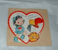 Vintage 1952 Valentine Card Paper Doll ~ Drum Majorette ~ Unused