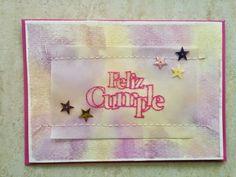 "Tarjeta cumple rosa para reto ""Crea tu propio papel decorado"" para la marca www.laparejacreativa.com/blog"