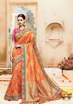 55ffbf9b8e742a Brilliant Orange Pure Banarasi Silk Designer Saree
