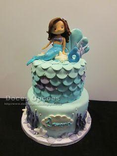 Doces Opções: Bolo de aniversário com uma sereia