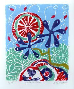 Linocut Print,  Garden in Motion by Laurel Martin, CranberryCloud
