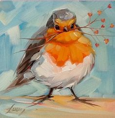 """Whimsical Robin painting, 4x4"""" impressionistic original oil painting,  whimsical bird art, bird paintings"""