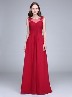 Sheath / Column Scoop Neck Floor Length Chiffon Bridesmaid Dress with Appliques Criss Cross by LAN TING BRIDE® - GBP £62.61 ! HOT Product! A hot product at an incredible low price is now on sale! Come check it out along with other items like this. Get great discounts, earn Rewards and much more each time you shop with us!