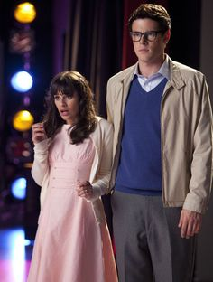 """Rachel and Finn (as Janet and Brad) in """"The Rocky Horror Glee Show"""""""
