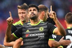 Diego Costa celebrates his opening goal which put Chelsea 1-0 up over struggling Swansea
