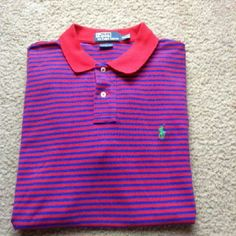 Men's Polo Ralph Lauren Shirt New without tags. Size XL Blue and Red Striped with Green Logo. Short Sleeve. 2 Button Front. 100% Cotton. Polo by Ralph Lauren Tops