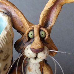 Whimsical Rabbit Sculpture Desk Organizer