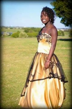 Gold and Black Sweet 16th  Masquerade Dress.