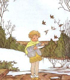 by Rie Cramer (Dutch,1887-1977)    Het jaar rond editie 1978, ill vogels voeren
