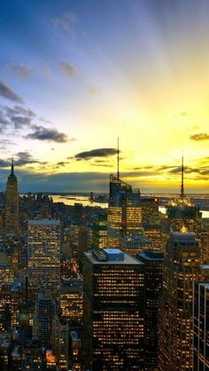 New York sunset, USA