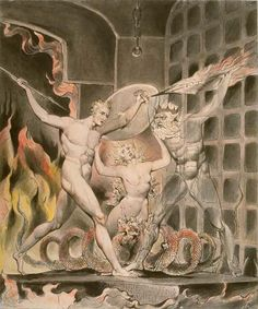 "Aesthetic Rapture Between Heaven and Hell: William Blake Illustrates John Milton's ""Paradise Lost"" – Brain Pickings William Blake Paintings, William Blake Art, John Milton Paradise Lost, Art Romantique, Gates Of Hell, Heaven And Hell, Mystique, Illustrations, Ciel"