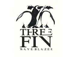 Inspired from the penguin surfboard airbrush this 3 fin waveblazer surfboard logo was designed for the Surf Shop on rice paper and glassed on to boards with 3 fins