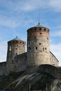 Olavinlinna Castle, (Swedish: 'Olofsborg,' literally, St. Olaf's Castle [Olaf II of Norway]). A 15th-C, 3-tower castle located in Savonlinna, Eastern Finland. It's the northernmost medieval stone fortress still standing. The fortress was founded by Erik Axelsson Tott in 1475 under the name Sankt Olofsborg. It was sited in Savonia so as to lay claim to the Russian side of the border established by the Treaty of Nöteborg.