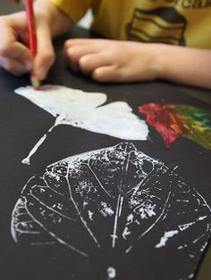 Print leaves with white paint on black paper, when dry, color with colored…