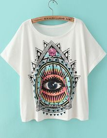 White Short Sleeve Eye Print Loose T-Shirt
