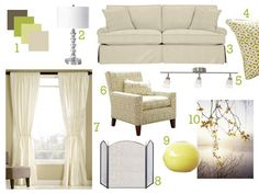 Paul's Design Dilemma-this color palette is cozy and welcoming with some warm yellow and green accent colors and lots of gentle neutrals.Walls with a pale warm golden hue (with some green in it) like Glidden's Brocade Cream