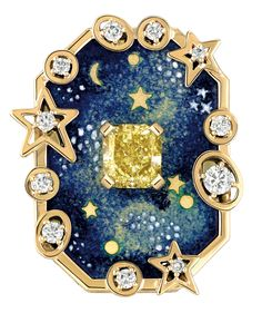 """Chanel - """"Biennale 2014"""" creation from """"Café Society"""" collection - """"Vendôme Comète"""" ring in 18-karat yellowgold and """"grand feu"""" enamel set with a 1.5-carat cushioncut - yellowdiamond and brilliantcut - diamonds"""