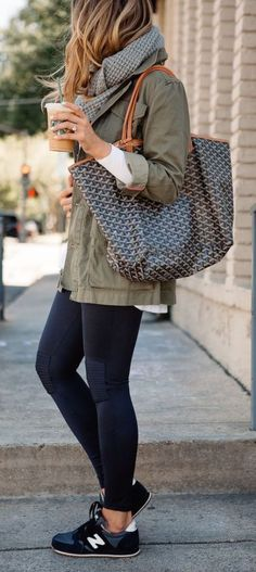 Olive Khaki Jacket, Black Legging, Black Sneakers, Scarf, Tote Bag #fall…