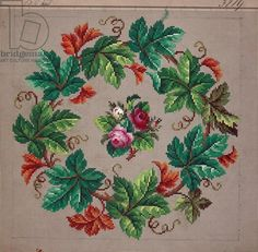 Crown of vine leaves and a bunch of roses embroidery design, 19th century