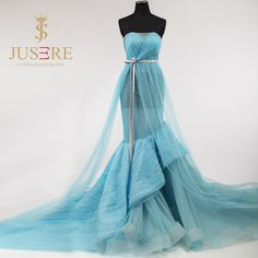 Light Blue Elegant Mermaid Illusion Tulle Fishtail Pleat Pearls Tiered Lace Up Back Beads <font><b>Haute</b></font> Couture Evening Dress 2017