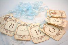 B is for Boy Banner Garland Baby Shower by SeasonalDelightsBaby, $22.75