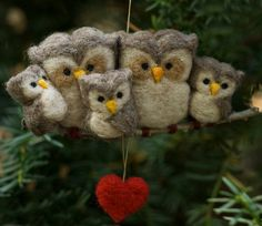 Needle Felted Owl Ornament - Family of Five. $51.00, via Etsy.