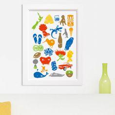Kiwiana Alphabets Nz Art, Kiwiana, Xmas Presents, Easy Paintings, Party Themes, Alphabet, Art Gallery, Card Making, Kids Rugs