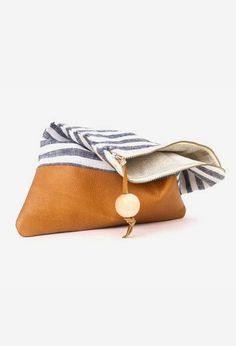 ipad case leather clutch nautical stripe bag by eclu
