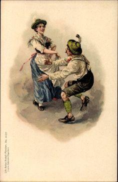 Litho Paartanz in bayrischen Volkstrachten, Lederhose, Dirndl | akpool.de
