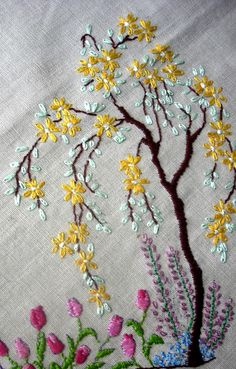 Embroidered Yellow Blossom Tree.