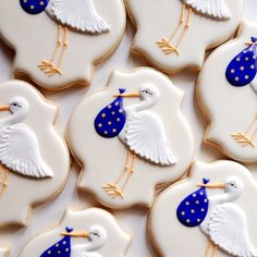 Baby Shower Stork cookies in regal purple although they look blue. For the life of me I can't photograph purple. #purple #baby #shower #decoratedcookies #decoratedsugarcookies #torontocustomcookies #decoratedsugarcookies