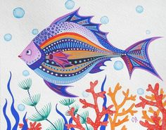 Love the pattern designs in the fish! Drawn Fish, Sea Life Art, Cartoon Fish, Fish Crafts, Ecole Art, Painting For Kids, Summer Painting, Watercolor Illustration, Watercolor Fish