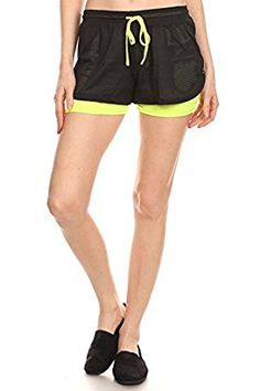 $9.99 Women's Double Layered Mesh Active Workout Shorts  95% Polyester, 5% Spandex Imported Duo-fabric (built-in short leggings and mesh outer layer) activewear relaxed fit shorts Waist drawsting and stretchable waistband Lightweight comfortable running shorts