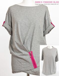 tshirt re-fashion with a statement zipper in any color ya like