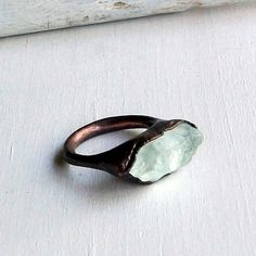 Copper Ring Aquamarine Ring Pale Sky Blue by MidwestAlchemy, $70.50