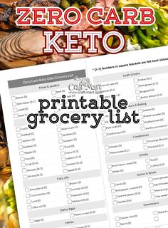 This printable Zero Carb Food List contains only foods with No Carbs at all or some foods with an Extremely Low Carb count (less than Keto Diet Grocery List, No Carb Food List, Low Carb Grocery, Ketogenic Diet Food List, Keto Meal, Food Lists, Low Carb Vegetables List, No Carb Recipes, Food Plan