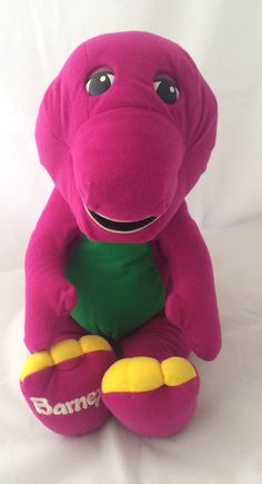 1996 plush talking Barney toy in played with condition. The eyes are made of plastic and have some very light scratches and the green spots on his back have some pilling (see all photos). He has a battery compartment that has a velcro closure. In working condition and says different things when you touch or move him. He is a talking Barney. He says Youre stupendous. Hello again to all my friends. Youre super dee duper. Its fun to use your imagination. Please hug me again. You are my very…