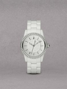 DKNY White Plastic Glitz Watch NY8011